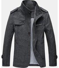 uomo giacca autunnale invernale di lana di stile retro maturo alla moda con coll a listino