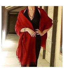 angora wool shawl, 'crimson meditation' (india)