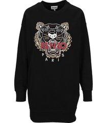 kenzo tiger-print jumper dress