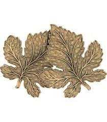 ann demeulemeester double leaf brooch - gold