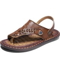 sandali casual in pelle con fibbia metallica per uomo