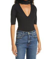 women's frame cutout silk & cotton blend sweater, size large - black