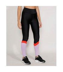 calça legging feminina esportiva ace color block preta