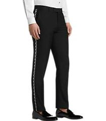 paisley & gray slim fit formal pants black & white floral