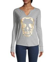 zadig & voltaire women's skull-graphic cotton top - grey - size xs
