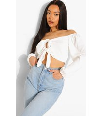 double off shoulder blouse met strik, white