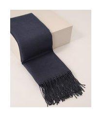 cachecol feminino de tricô com franjas azul marinho