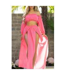 sexy set-chifon maxi rok+off-shoulder latina top roze
