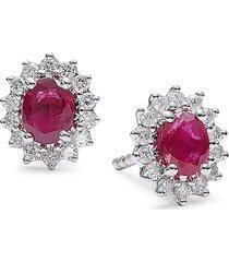 diana m jewels women's 14k white gold, ruby & 0.27 tcw diamond stud earrings