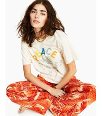 junk food cotton peace cropped t-shirt