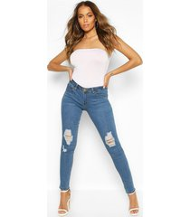 low rise ripped knee skinny jeans, blue