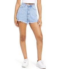 women's we wore what the boyfriend high waist cutoff shorts, size 28 - blue