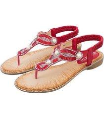 sandalias de cabeza redonda pearl fashion women-red