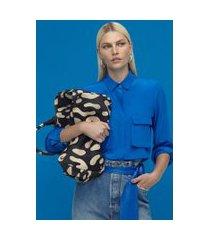 camisa manga longa de seda com bolsos azul klein azul klein - 44