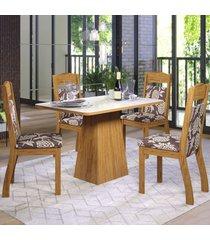 mesa de jantar 4 lugares elza seda/off white/figo - viero móveis