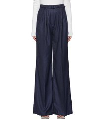'vargas' belted cashmere twill wide leg pants