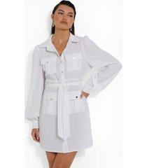 blouse jurk met utility zakken, white