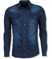 diele & co biker denim shirt blauw