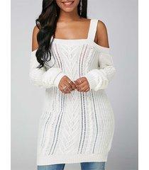 hombro frío blanco manga larga tejido vestido