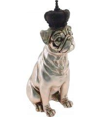 enfeite decorativo cachorro coroa preta resina preto 28x12m