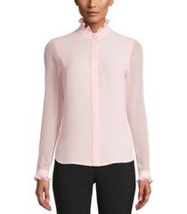 anne klein ruffle-neck button-up blouse