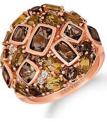 14k strawberry gold®, chocolate quartz®, caramel quartz™, nude diamond & chocolate diamond® ring