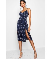 boutique satin polka dot wrap slip dress, navy