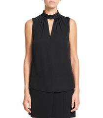 theory women's sleeveless silk blouse - black - size l