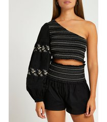 river island womens black shirred shorts