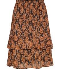 leyla skirt knälång kjol orange minus