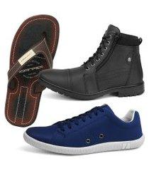 kit de bota coturno rebento com sapatênis + chinela danper preto e azul