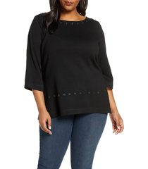 plus size women's ming wang grommet sweater
