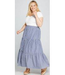 lane bryant women's striped button-front maxi skirt 14/16 poplin stripe