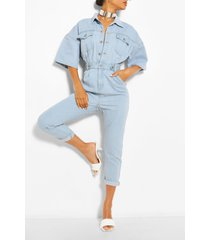 waist detail denim jumpsuit, light blue
