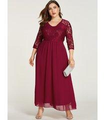 plus tamaño inserto de encaje color burdeos forrado redondo cuello vestido