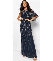 bridesmaid hand embellished one shoulder cape maxi, navy