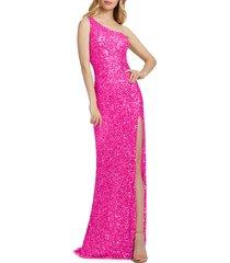 women's mac duggal sequin one-shoulder column gown, size 8 - pink