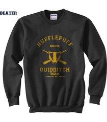 beater old hufflepuff quidditch team unisex crewneck sweatshirt black