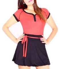 vestido bicolor manga corta sarab/vb-006nr negro-rojo