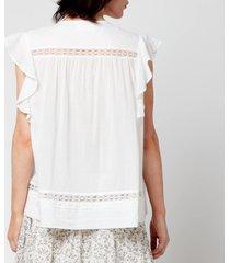 skall studio women's olive cotton voile sleeveless blouse - optic white - l