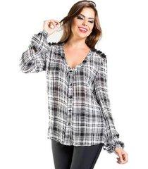 camisa xadrez bordado ombro miçangas manga longa viscose lume feminina