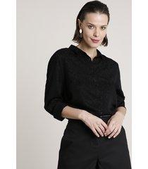 camisa feminina animal print onça manga longa preta