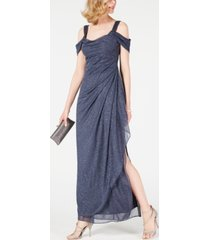 alex evenings cold-shoulder draped metallic gown