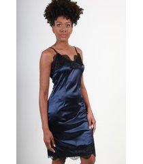 vestido encaje azul marino night concept