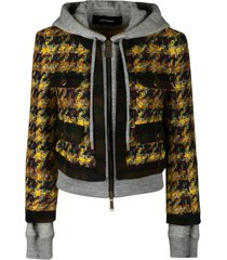 dsquared2 tweed zip hooded jacket