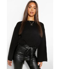 cropped flare sleeve sweater, black