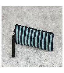 leather accent zapotec wool wristlet, 'blue stripes' (mexico)
