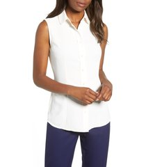 women's anne klein peter pan collar blouse, size 2 - white