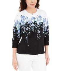 karen scott petite floral-print cardigan sweater, created for macy's