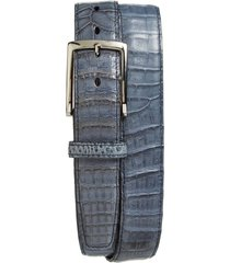 men's big & tall torino caiman leather belt, size 46 - blue jean